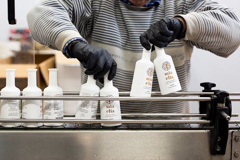olive oil bottles on the production line